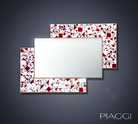 Kaleidoscope maroon PIAGGI glass mosaic mirror