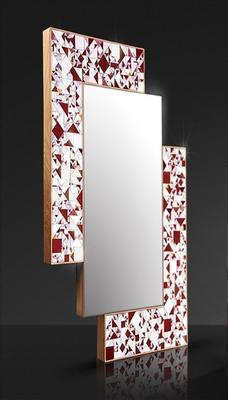 Kaleidoscope maroon PIAGGI glass mosaic mirror image 2