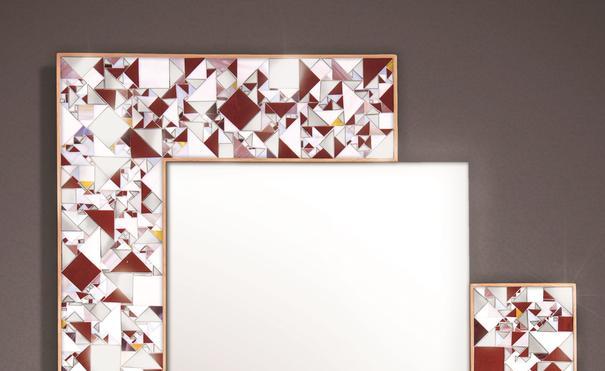 Kaleidoscope maroon PIAGGI glass mosaic mirror image 3