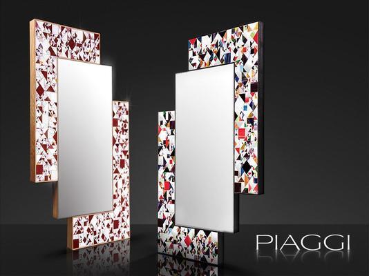 Kaleidoscope maroon PIAGGI glass mosaic mirror image 4