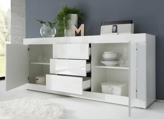Urbino Collection Sideboard Two Doors/Three Drawers - White High Gloss lacquer image 2