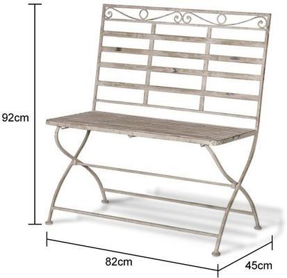 Washed Metal Garden Bench image 2