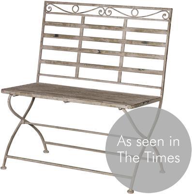 Washed Metal Garden Bench image 3
