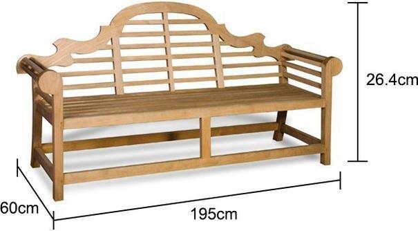 Teak Garden Bench 195cm Wide image 2