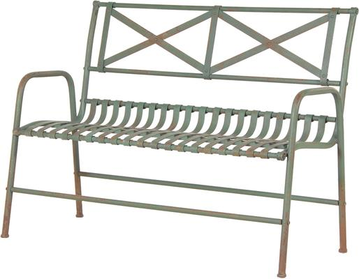 Distressed Metal Wire Garden Bench
