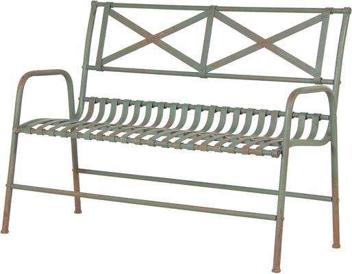 Distressed Metal Wire Garden Bench