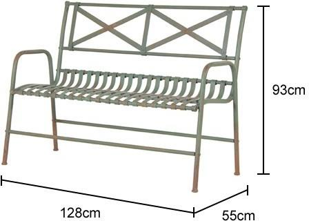 Distressed Metal Wire Garden Bench image 2