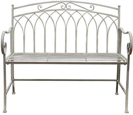 Marco Distressed White Metal Outdoor Bench