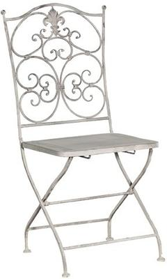 Grey Washed Metal Folding Chair Distressed Finish