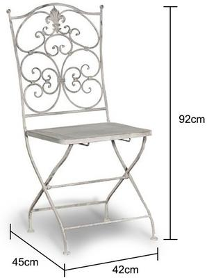 Grey Washed Metal Folding Chair Distressed Finish image 2