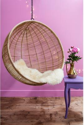 Hanging Rattan Bowl Chair in Natural image 3