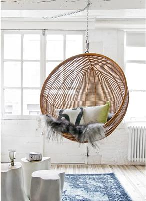 Hanging Rattan Bowl Chair in Natural image 5
