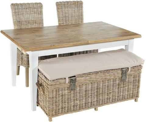 Grey Wash High Back Rattan Dining Chair with Cushion image 2
