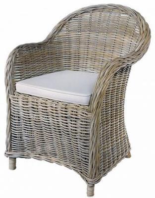 Grey Wash Rattan Armchair with Cushion