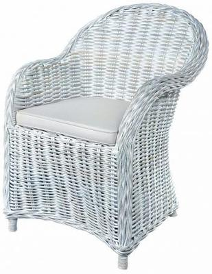 White Wash Rattan Armchair with Cushion