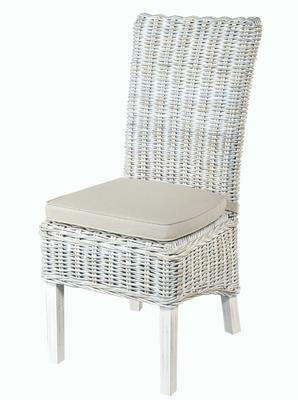 White Wash High Back Rattan Dining Chair with Cushion