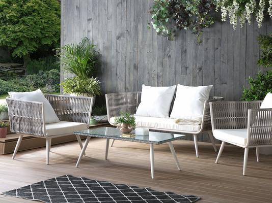 Ragusa Outdoor 4 Piece Modern Sofa and Table Set image 2