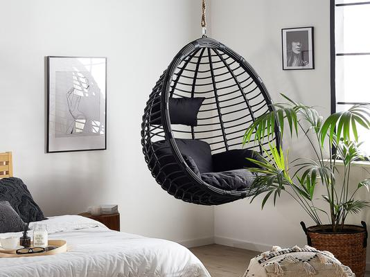Tollo Garden Hanging Egg Chair Black or Grey Optional Stand image 9