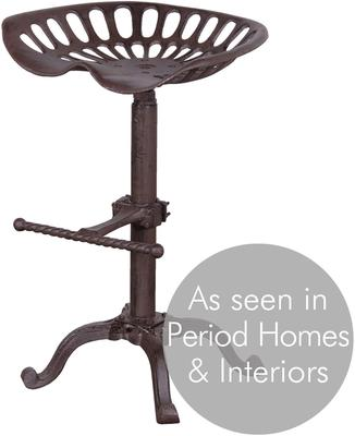 Metal Tracker Seat Stool Rustic Iron Finish