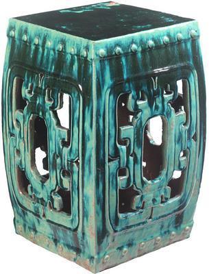 Square Teal Ceramic Stool