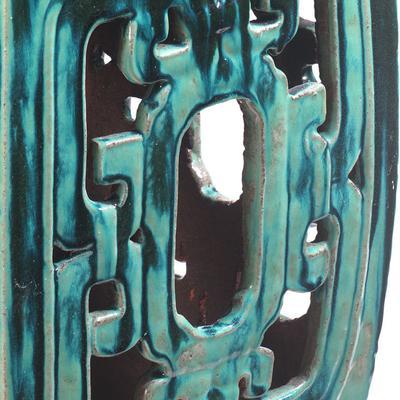 Square Teal Ceramic Stool image 2