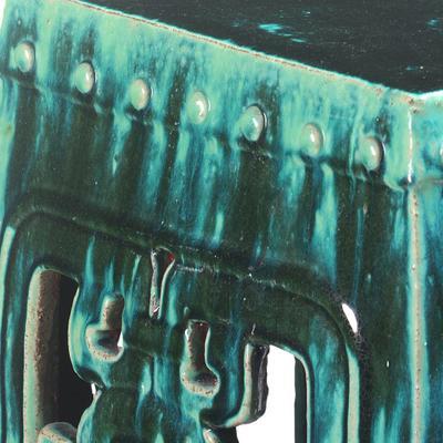 Square Teal Ceramic Stool image 3