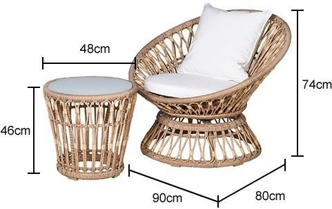 Rattan Outdoor Balcony Set - 2 chairs + table image 2