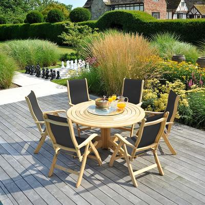 Roble Round Outdoor Dining Set - 6 Seater