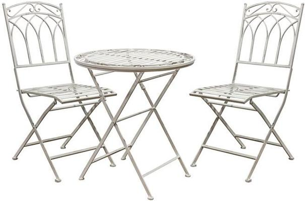 Burano Distressed White Outdoor Bistro Set - Round Table and 2 Chairs