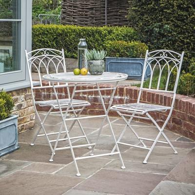 Burano Distressed White Outdoor Bistro Set - Round Table and 2 Chairs image 2
