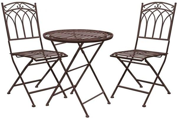 Burano Distressed White Outdoor Bistro Set - Round Table and 2 Chairs image 3