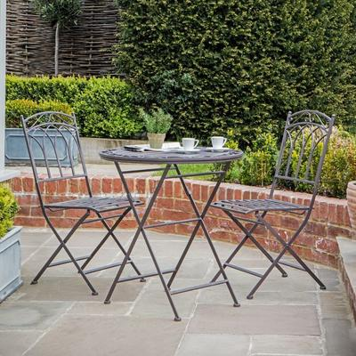 Burano Distressed White Outdoor Bistro Set - Round Table and 2 Chairs image 4
