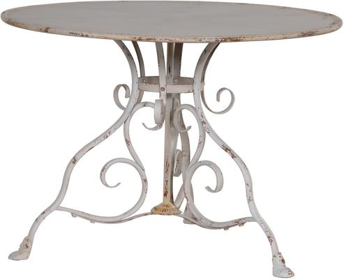 Round Garden Table Distressed Iron