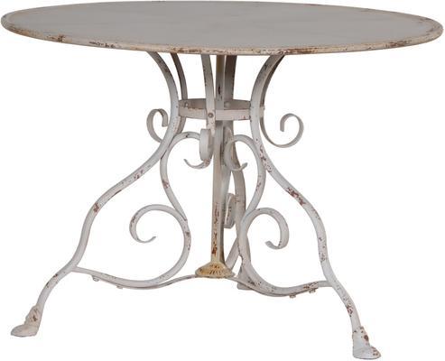 Round Garden Table Distressed Iron