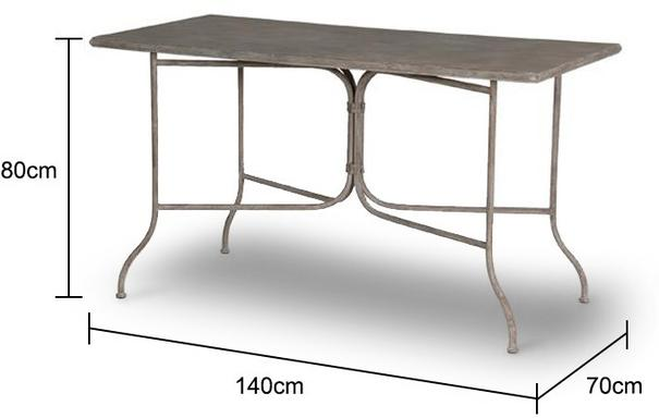 Rectangle Garden Table Distressed Iron image 2