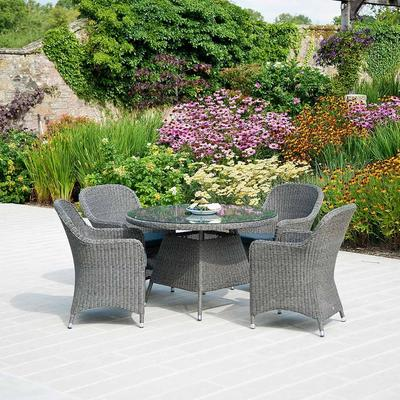 Calvina Monte Carlo Round Outdoor Table With Glass