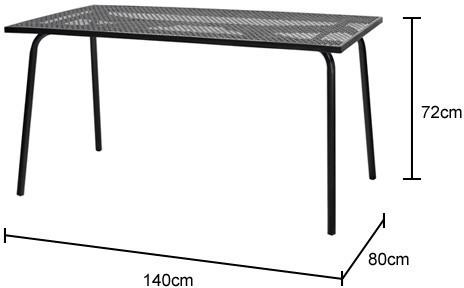 Rectangular Black Metal Garden Table image 2