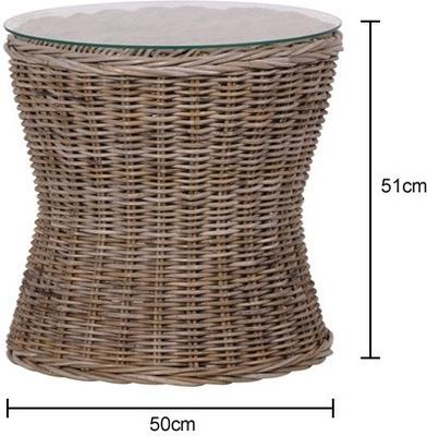 Rattan Side Table With Glass Top image 2