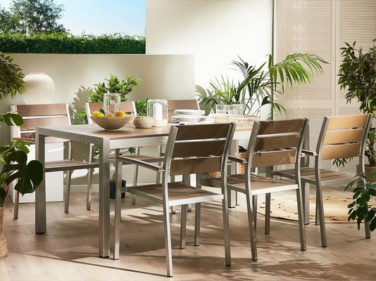 VERNIO Outdoor Rectangular Dining Table Brown or White image 2