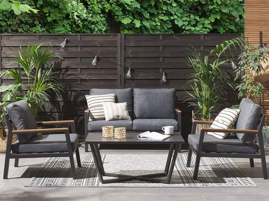 DELIA Outdoor Grey Chair Set and Coffee Table image 2