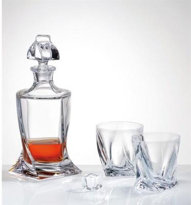 Quadro Crystal Glass Set 500ml Decanter + 2 Glasses