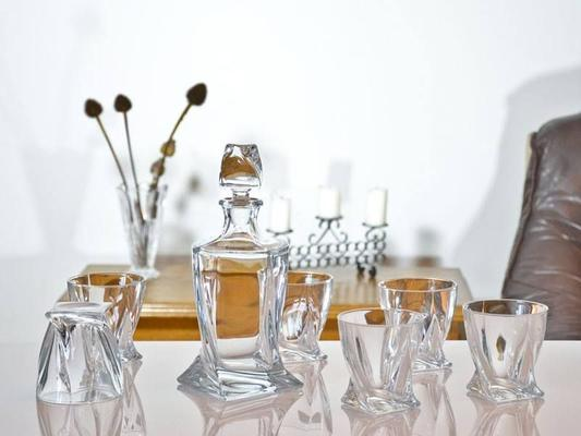 Quadro Crystal Glass Set 500ml Decanter + 2 Glasses image 2