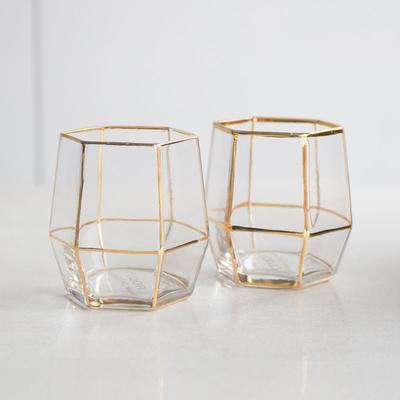 Geo Gold Glasses - Set of 2