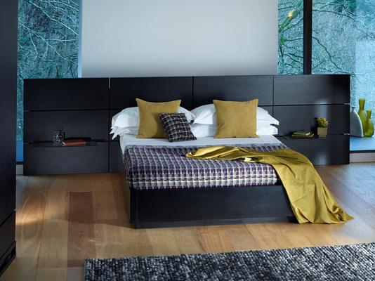 Cordoba Modern Kingsize Bed - Black Wenge with Extended Headboard