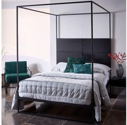 Federico Headboard Black Wood and Metal image 30