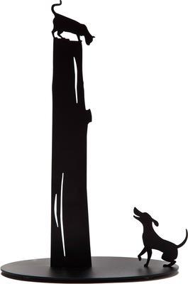 Cat vs Dog Kitchen Roll Holder - Black