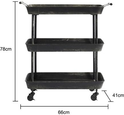 Black Metal Trolley with Three Tiers image 2