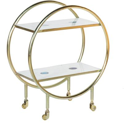 Cici Art Deco Circular Bar Trolley Brass Finish
