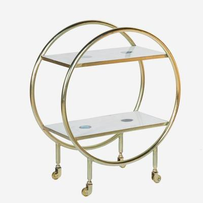 Cici Art Deco Circular Bar Trolley Brass Finish image 2