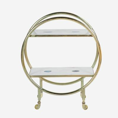 Cici Art Deco Circular Bar Trolley Brass Finish image 4